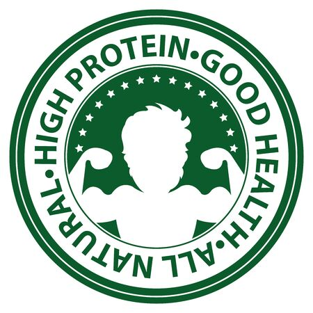 good health: Green Circle High Protein, Good Health, All Natural Icon, Sticker or Label Isolated on White Background