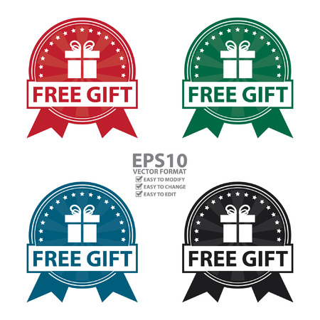 Free Gift Ribbon, Icon, Button or Label Isolated on White Background