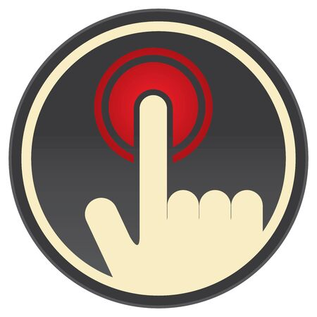 click the icon: Black Vintage Style Push Or Click Icon, Badge, Label, Button or Sticker With Hand Pointer Sign Isolated on White Background