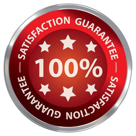qc: Red Metallic 100 Satisfaction Guarantee Label Sticker Banner Sign or Icon Isolated on White Background
