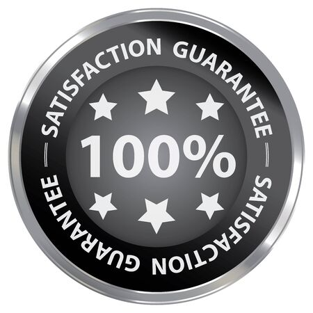 qc: Black Metallic 100 Satisfaction Guarantee Label Sticker Banner Sign or Icon Isolated on White Background Stock Photo