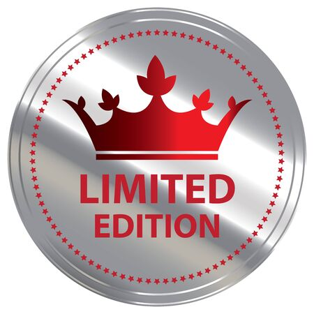 rarity: Red Metallic Limited Edition Label Sticker Banner Sign or Icon Isolated on White Background