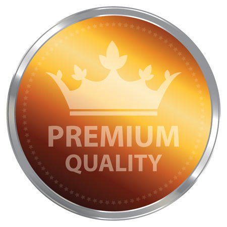 qc: Orange Metallic Premium Quality Label Sticker Banner Sign or Icon Isolated on White Background