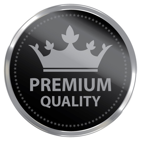 qc: Black Metallic Premium Quality Label Sticker Banner Sign or Icon Isolated on White Background Stock Photo