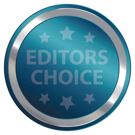 editors: Blue Editors Choice Label Sticker Banner Sign or Icon Isolated on White Background Stock Photo