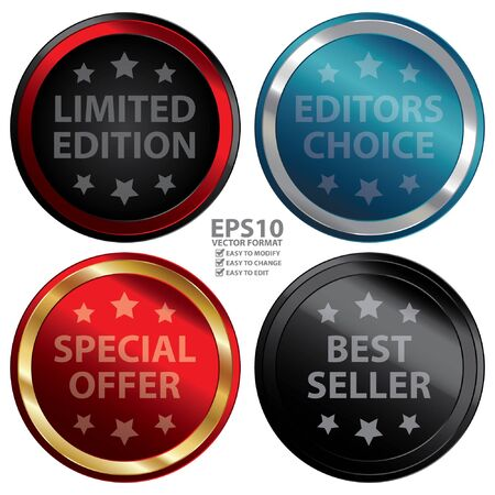 editors: Vector : Marketing Material For Promotional Sale Present By Colorful Glossy Style Limited Edition Editors Choice Special Offer and Best Seller Icon Badge Label or Sticker Isolated on White
