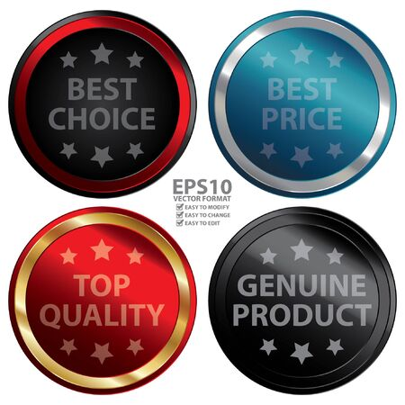 Vector : Business or Marketing Material For Promotional Sale or Marketing Campaign Present By Colorful Glossy Style Best Choice Best Price Top Quality Genuine Product Icon Badge Label or Sticker