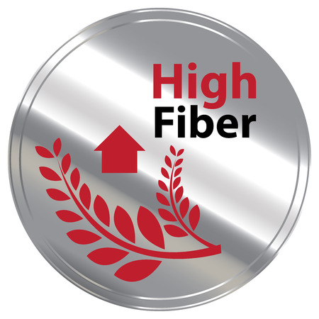 dietary fiber: Silver Metallic Style High Fiber Icon Badge Label