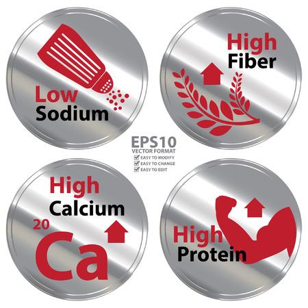 Vecteur: Argent métallisé style Faible teneur en sodium High Fiber Élevée en calcium et High Protein Badge Icon étiquette ou un autocollant pour la santé médicale et des soins de santé de régime ou information sur le produit Concept Vecteurs