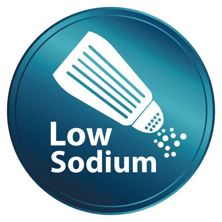 saline: Blue Metallic Style Low Sodium Icon Badge Label