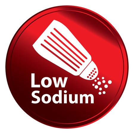 saline: Red Metallic Style Low Sodium Icon Badge Label Stock Photo