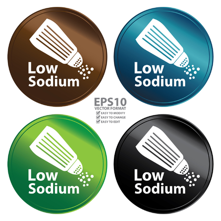 product information: Vector : Colorful Metallic Style Low Sodium Icon Badge Label or Sticker for Healthy Medical and Healthcare Weight Loss Diet Fitness Product or Product Information Concept Isolated on White
