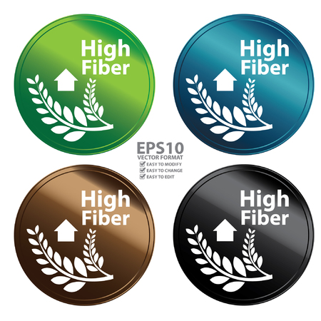 Vector : Colorful Metallic Style High Fiber Icon Badge Label or Sticker for Healthy Medical and Healthcare Weight Loss Diet Fitness Product or Product Information Concept Isolated on White Vector