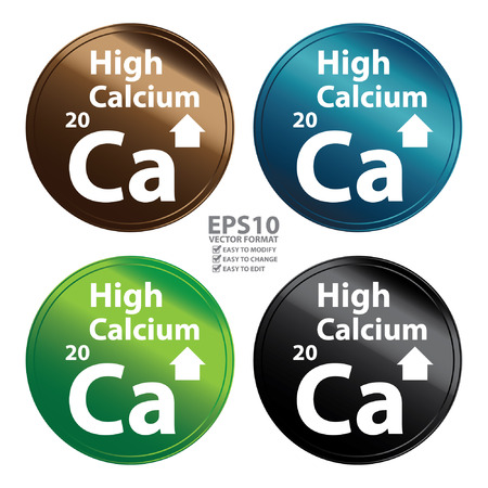 food absorption: Vector : Colorful Metallic Style High Calcium Icon Badge Label or Sticker for Healthy Medical and Healthcare Weight Loss Diet Fitness Product or Product Information Concept Isolated on White