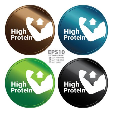 Vector: Estilo metálico colorido de alto valor proteico de la insignia del icono Etiqueta o pegatina para Healthy Médica y Salud Pérdida de peso dieta aptitud del producto o de información del producto Concepto aislado en blanco