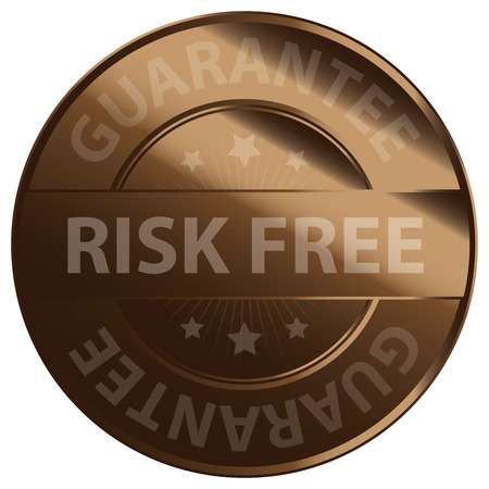 warrant: Brown Glossy Risk Free Guarantee Banner Sign Tag Label Sticker or Icon Isolated on White Background Stock Photo