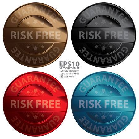 warrant: Vector : Colorful Metallic Style Risk Free Guarantee Icon Badge Label or Sticker for Quality Control Quality Assurance Quality Management or Customer Satisfaction Concept Isolated on White Illustration