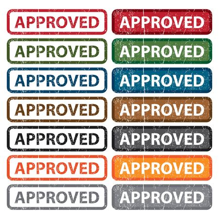 disapprove: Colorful Rectangle Grunge Style Approved Icon Badge Label Stock Photo