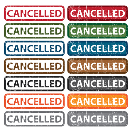 cancelled: Colorful Rectangle Grunge Style Cancelled Icon Badge Label  Stock Photo