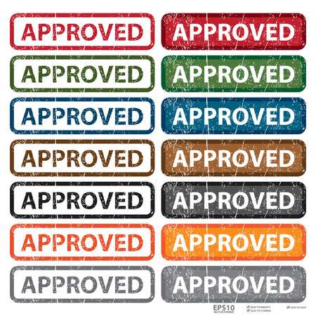approved stamp: Colorful Grungy Approved Stamp Button Label or Icon Isolated on White Background Illustration