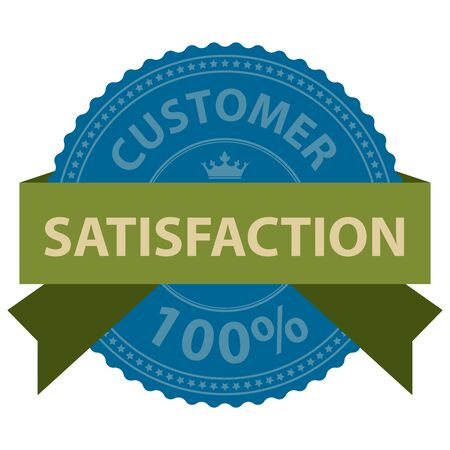 qc: Customer Satisfaction 100 Ribbon Label Sticker or Icon Isolated on White Background Stock Photo