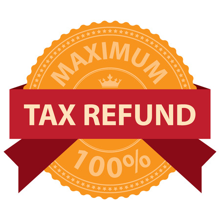 refund: Maximum Tax Refund 100 Ribbon Label Sticker or Icon Isolated on White Background