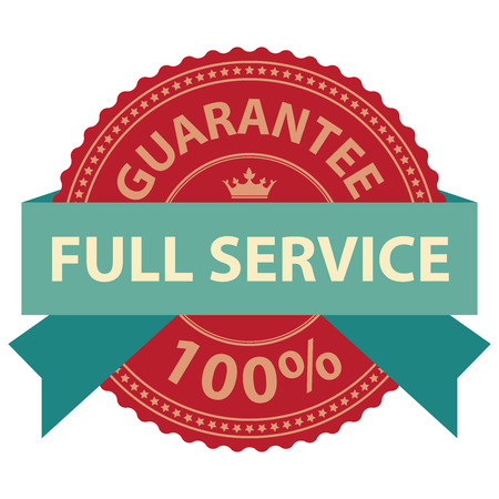 limited access: Guarantee Full Service 100 Ribbon Label Sticker or Icon Isolated on White Background Stock Photo