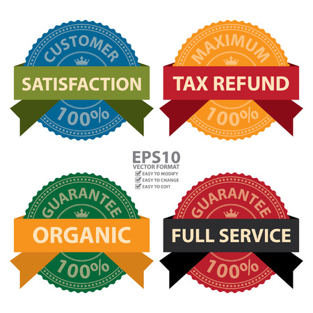 Vector : Customer Satisfaction 100 Percent Maximum Tax Refund 100 Percent Organic Guarantee 100 Percent and Full Service Guarantee 100 Percent Icon Badge Label or Sticker Isolated on White