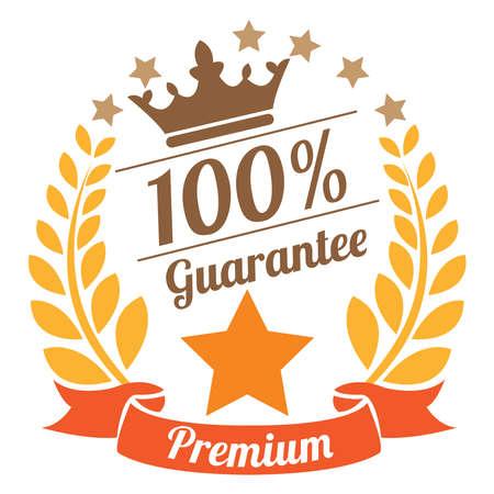 qc: 100 Guarantee Premium Laurel Wreath Ribbon Label Sticker or Icon Isolated on White Background