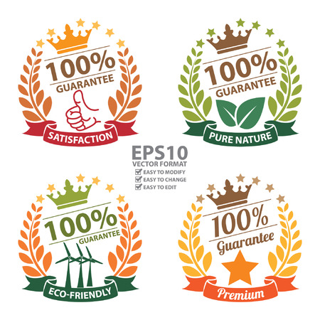 guarantee: Vector : Satisfaction Pure Nature EcoFriendly and Premium 100 Percent Guarantee Sticker Icon or Label Isolated on White Background