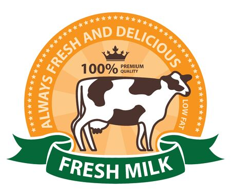 product information: Product Information Material Orange Fresh Milk 100 Percent Premium Quality Always Fresh and Delicious Sticker Rubber Stamp Icon