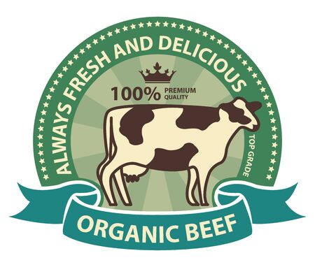 product information: Product Information Material Green Organic Beef 100 Percent Premium Quality Always Fresh and Delicious Sticker Rubber Stamp Icon Tag