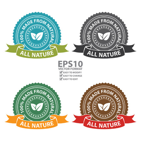 product information: Vector : Product Information Material Blue Black Green and Brown All Nature 100 Percent Made From Natural Sticker Stamp Icon Tag Badge or Label Isolated on White Background
