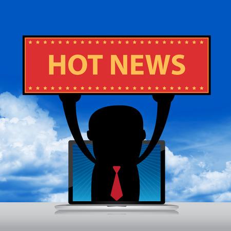 hot news: The Businessman Raise Hot News Banner Through Computer Laptop Screen Stock Photo
