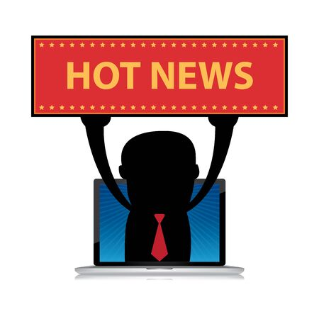 hot news: The Businessman Raise Hot News Banner Through Computer Laptop Screen Isolated on White Background Stock Photo