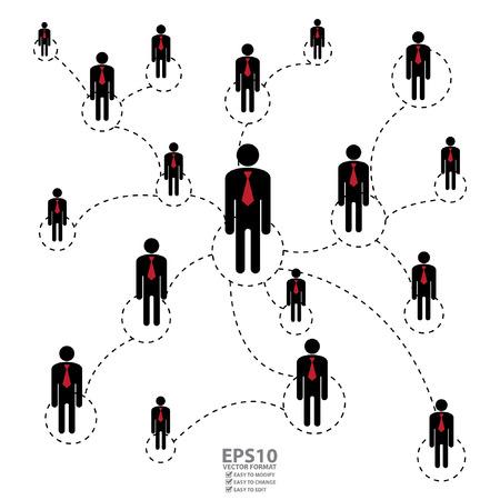 Vector: Grafisch voor Business Networking Business Partner of MLM multilevel marketing die op Witte Achtergrond