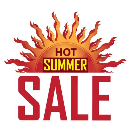 Red Hot Summer Sale Icon Banner Sticker or Label Isolated on White Background