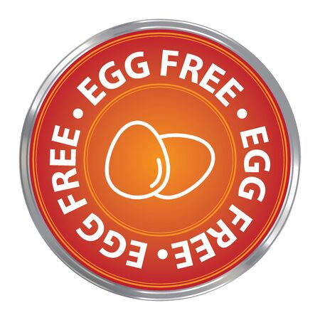 livestock: Orange Circle Egg Free Icon Sticker or Label For Livestock Restaurant Food Health or Dietary Business Isolated on White Background Stock Photo