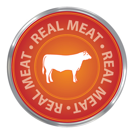 beef: Orange Circle Real Meat Icon Sticker or Label For Livestock Restaurant Food or Butchery Business Isolated on White Background