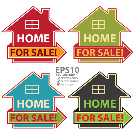 first house: Vector : Colorful Home For Sale Icon or Label Isolated on White Background