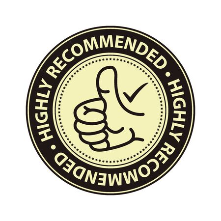 qc: Black Highly Recommended Badge Banner Sign Tag Label Sticker or Icon Isolated on White Background