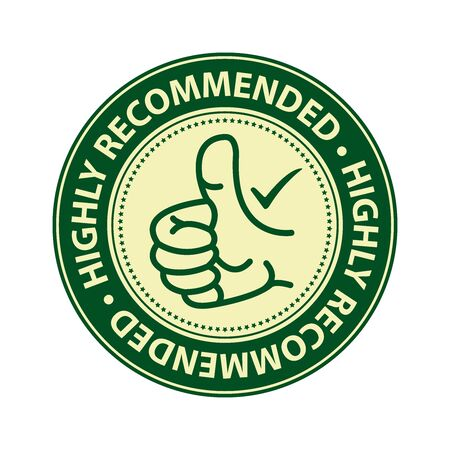 qc: Green Highly Recommended Badge Banner Sign Tag Label Sticker or Icon Isolated on White Background