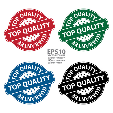 qc: Vector : Colorful Top Quality Guarantee Icon Sticker Label or Badge Isolated on White Background Illustration