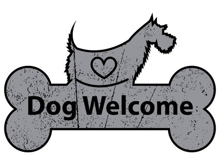 accomodation: Black Grungy Dog Welcome on Dog With Bone Sign or Label Isolated On White Background
