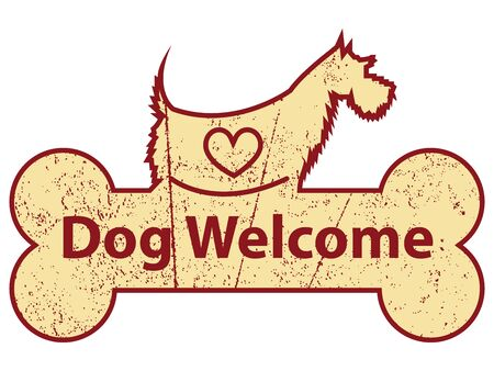 accomodation: Yellow Grungy Dog Welcome on Dog With Bone Sign or Label Isolated On White Background Stock Photo