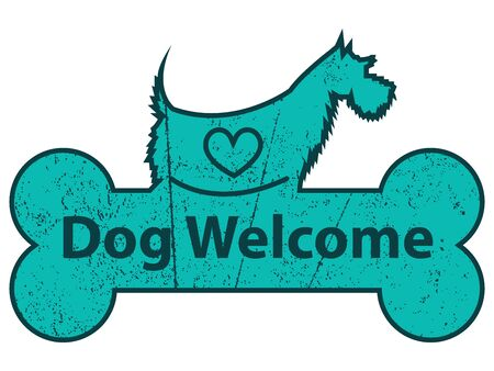 accomodation: Blue Grungy Dog Welcome on Dog With Bone Sign or Label Isolated On White Background