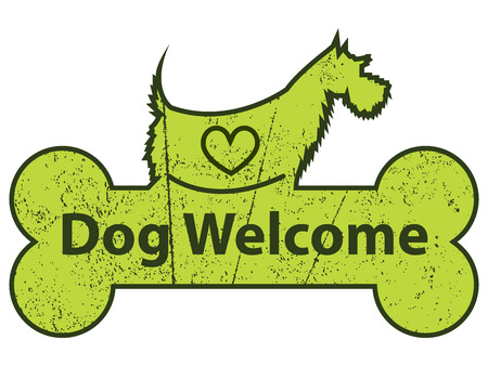 Green Grungy Dog Welcome on Dog With Bone Sign or Label Isolated On White Background