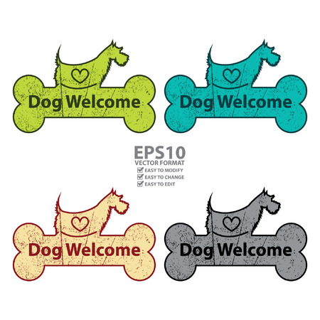accomodation: Vector : Colorful Grungy Dog Welcome on Dog With Bone Sign or Label Isolated On White Background