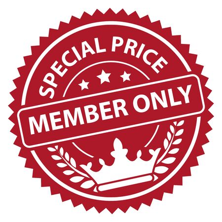special price: Red Special Price Member Only Icon Label Badge or Sticker Isolated on White Background