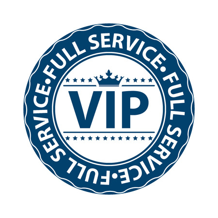 crucial: Blue VIP Full Service Icon Label Button Badge or Sticker Isolated on White Background